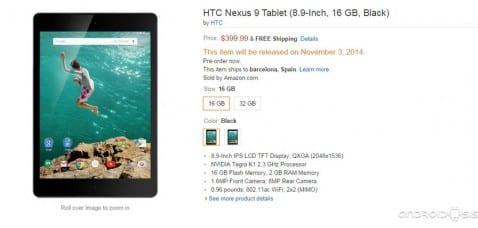 Ya puedes comprar la Nexus 9 en Amazon por 399,99$