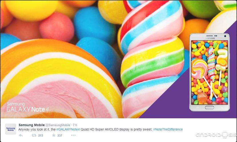 Las insinuaciones de Samsung: ¿Lollipop en Samsung Galaxy Note 4 de manera inmediata?