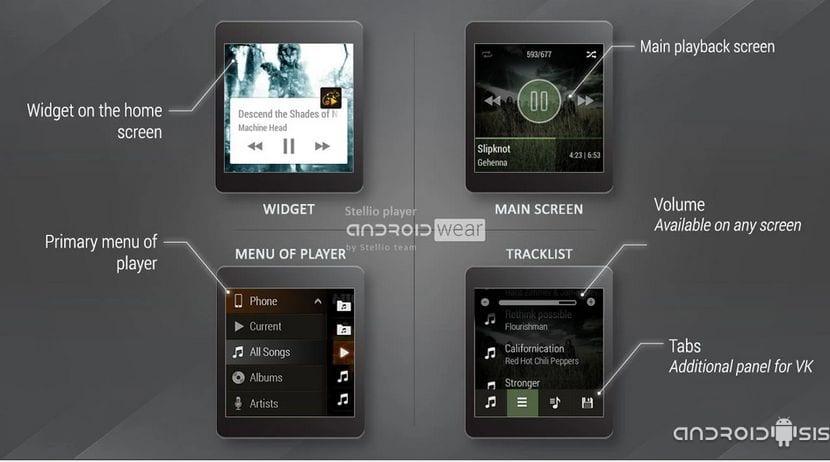 Las mejores aplicaciones para Android Wear, hoy Stellio Music Player un excelente reproductor de música para tu Smartwatch