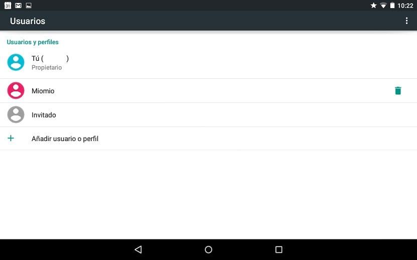 Cuentas de usuario Android 5.0