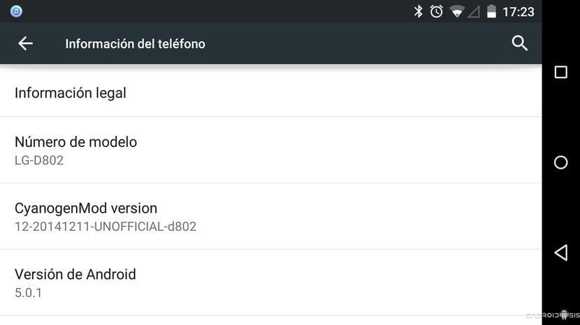 Cómo actualizar el LG G2 a la última CM12 unofficial Android 5.0.1 (modelo D802)