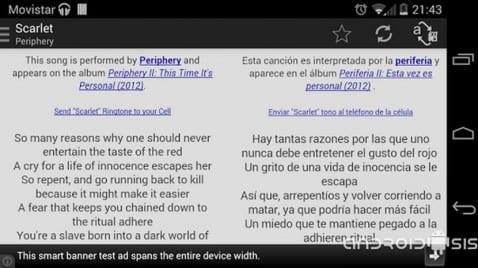 AirLyrics; Traductor simultáneo de canciones para Android