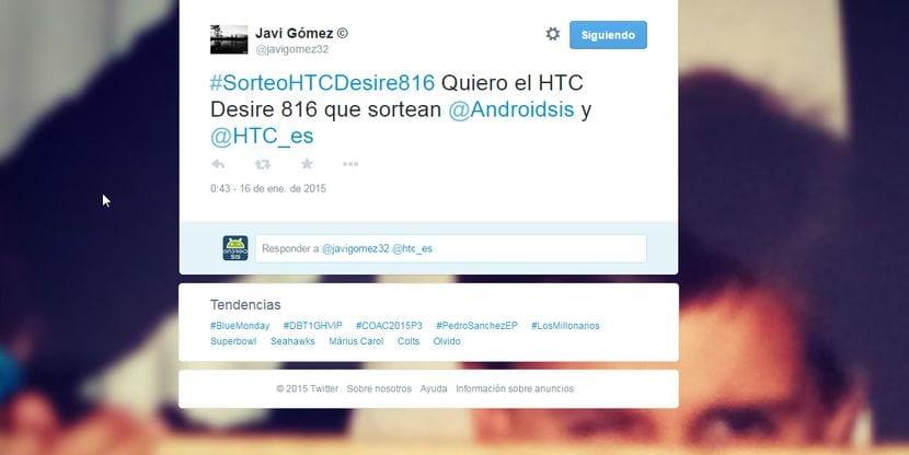 Ganador Sorteo HTC Desire 816