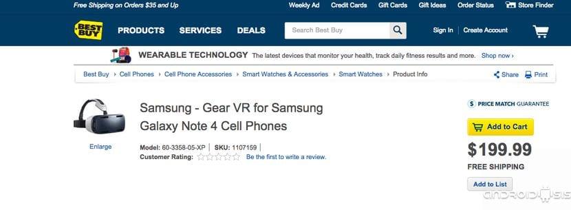 Las Samsung Gear VR ya se pueden comprar en Best Buy por 199$