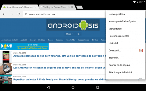 Chrome Beta 42 captura pantalla