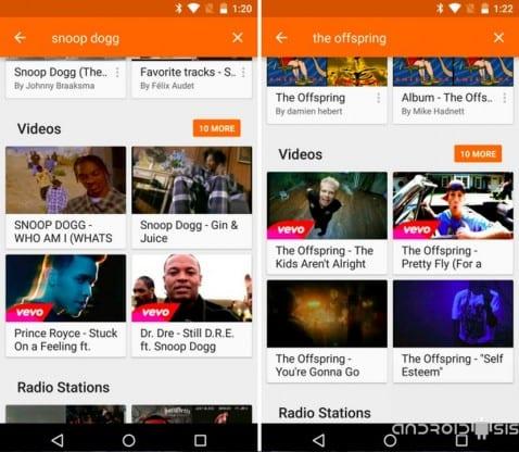 [APK] La nueva versión de Google Play Music añade la búsqueda de vídeos músicales