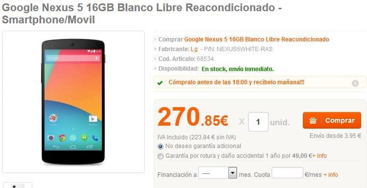 Nexus 5 desde PcComponentes