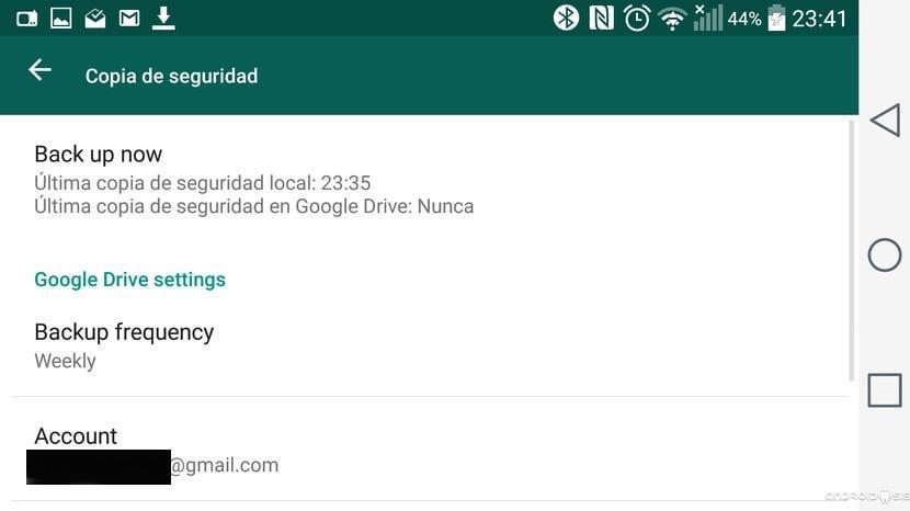 descargar copia de seguridad google drive whatsapp