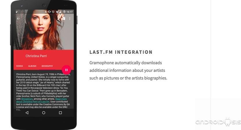 Gramophone, el reproductor de música material design que no te puedes perder