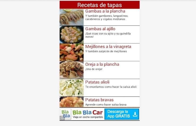 Recetas de tapas menu