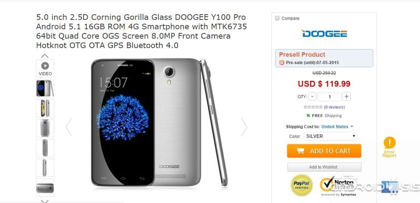 Doogee Valencia Y 100 Pro, toda la información acerca del nuevo terminal de la compañía china que llegara con Android 5.1