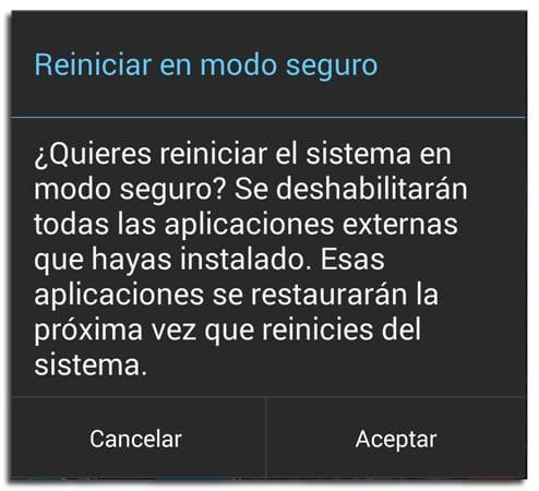 Modo seguro en Android para eliminar virus