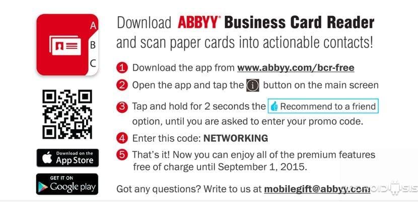 Prueba Business Card Reader Free con todas sus funciones activadas gratis hasta el 1 de Septiembre de 2015
