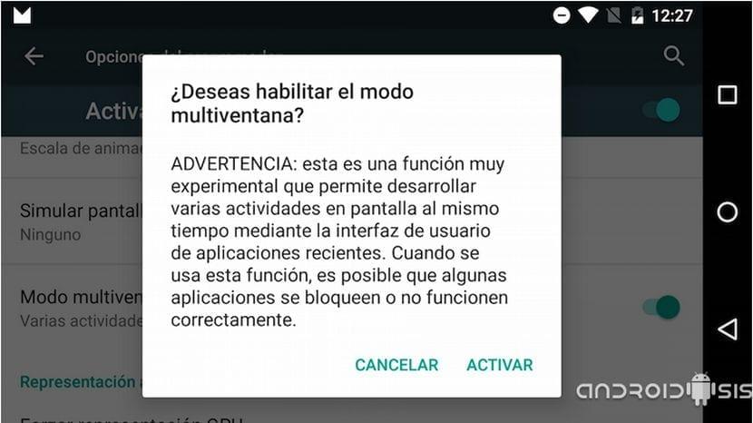 Cómo habilitar el modo multiventana en Android M