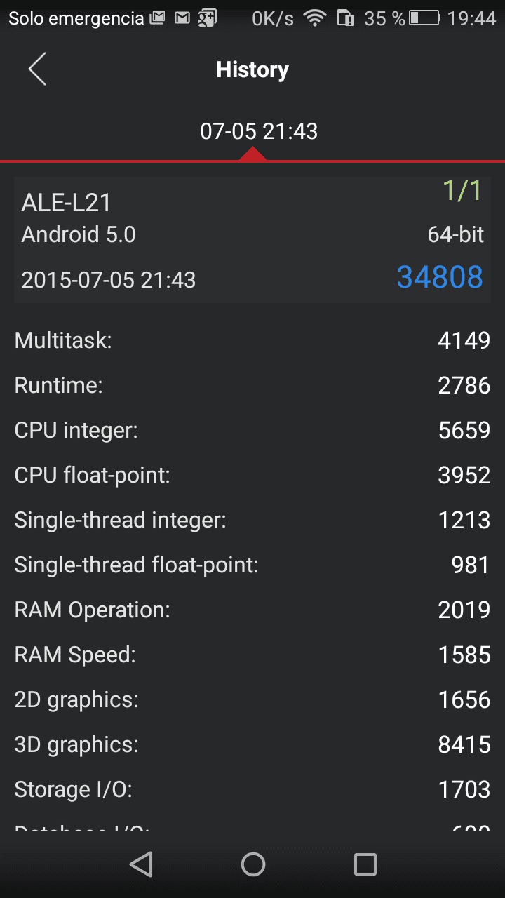 AntuTu Huawei P8 Lite