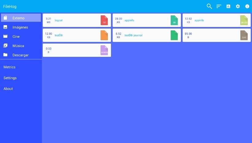 Captura de la interfaz principal de FileHog.