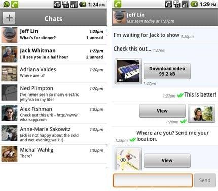 Primera versión de WhatsApp para Android.