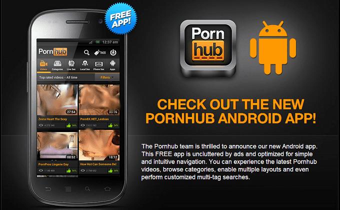 Aplicación de Pornhub para Android.