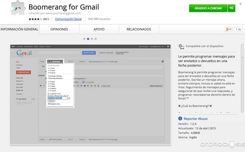 Boomerang, sensacional extensión para Google Chrome que nos permite programar el envío de correos electrónicos desde Gmail