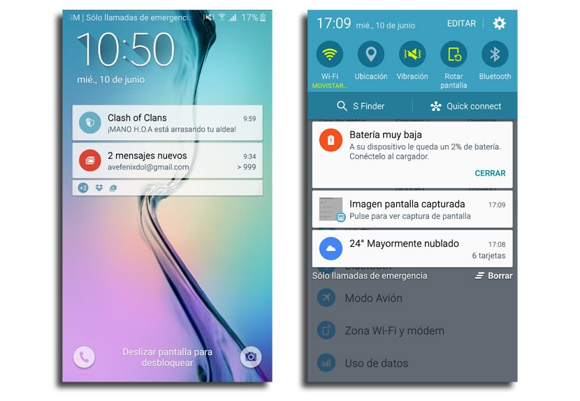 Interfaz Galaxy S6 edge