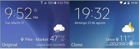 Widget del tiempo del Galaxy S6