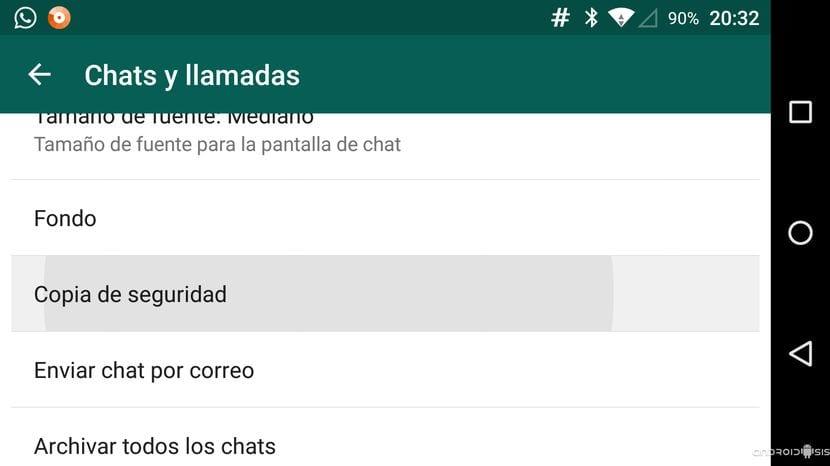 Opciones WhatsApp Chat y llamadas