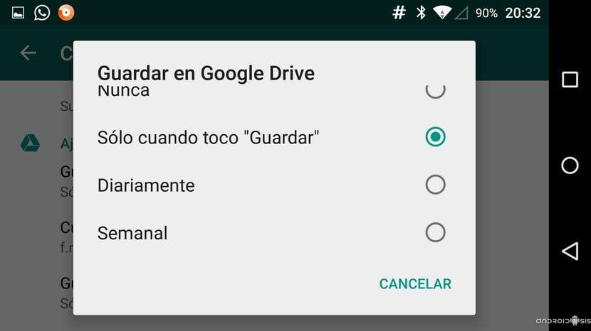 Opciones para realizar la copia de seguridad de WhatsApp