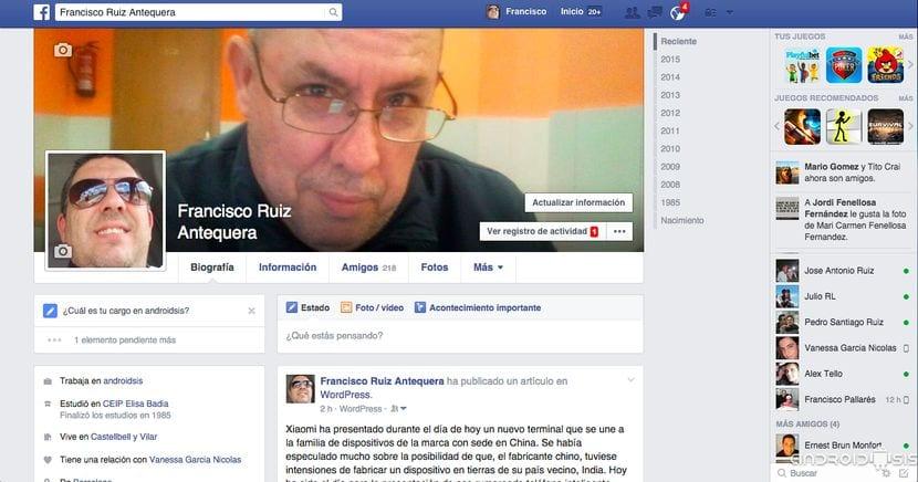 Página principal de Facebook