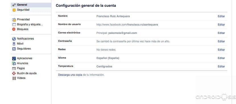 Configuración seguridad Facebook