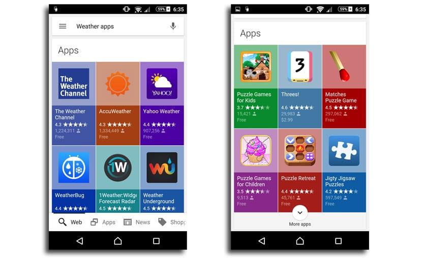 Interfaz búsqueda apps