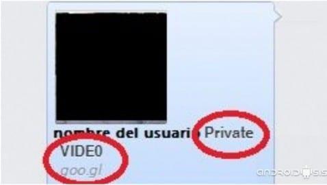 Ejemplo mensaje infectado con Private Vídeo