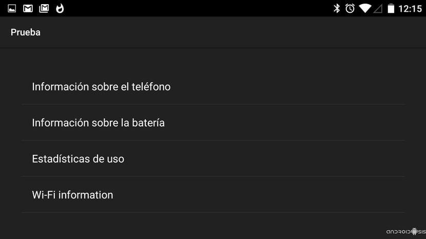 Menú oculto Android