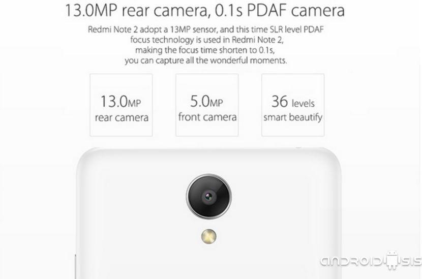 Xiaomi Redmi Note 2 cámara trasera