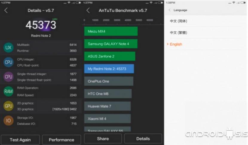 Xiaomi Redmi Note 2 puntos en Antutu
