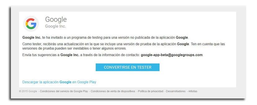 Beta programa Google