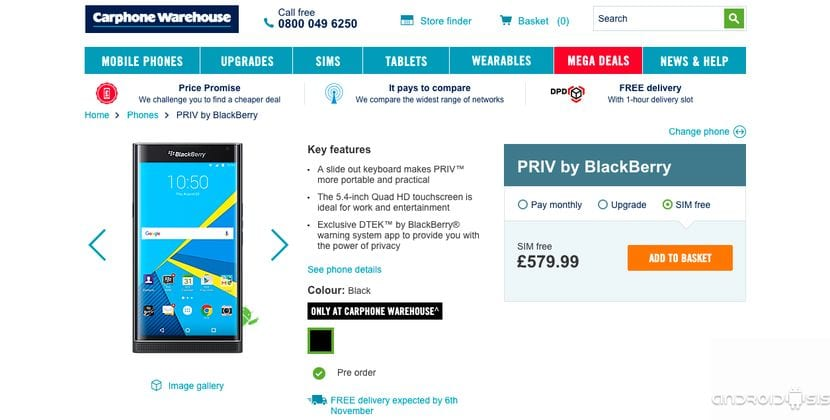 BlackBerry Priv ya disponible para comprar en Reino Unido a través de Carphone Warehouse