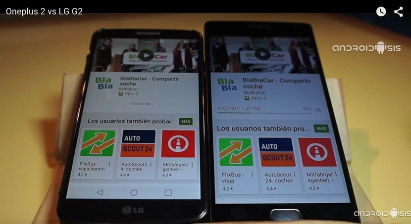 Test de velocidad Androidsis: LG G2 VS Oneplus 2