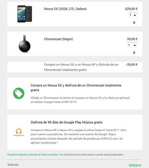 Nexus 5x chromecast