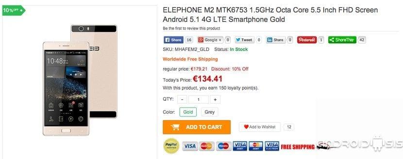 EL ELphone M2 al mejor precio, solo 134 euros