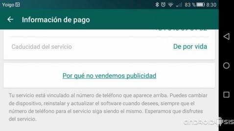 WhatsApp gratis de por vida
