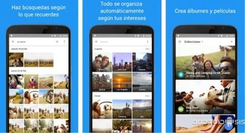 Interfaz de usuario de Google fotos
