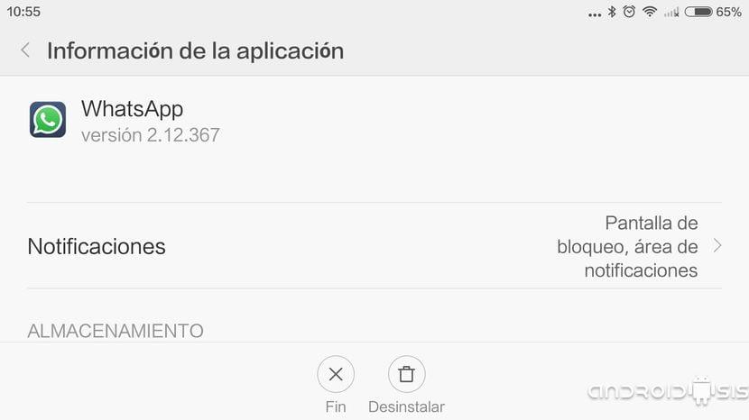 Desinstalar WhatsApp desde ajustes Android