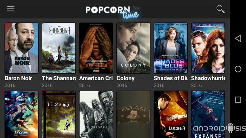 Series gratis en Popcorn Time