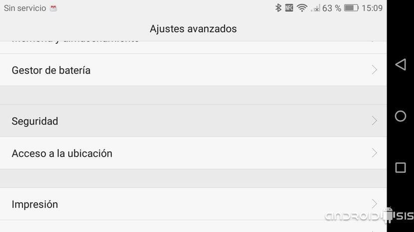 Android Ajustes/Seguridad