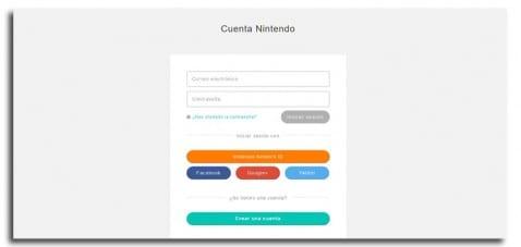 Crear cuenta Nintendo