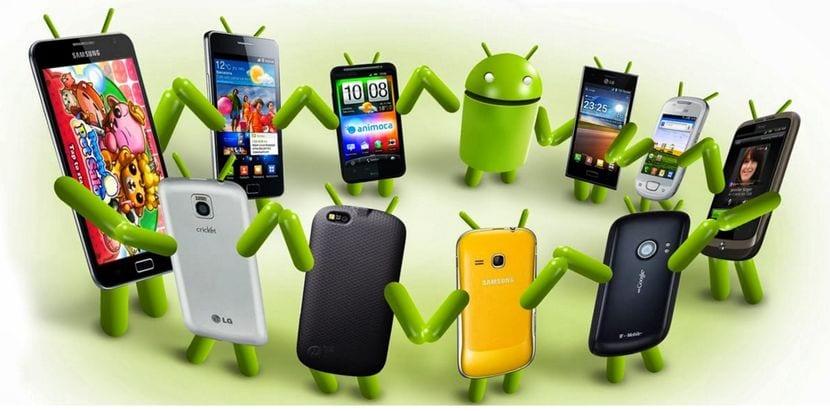 Corro de smartphones Android bailando