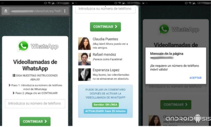 Mensaje activar vídeollamadas WhatsApp es una estafa