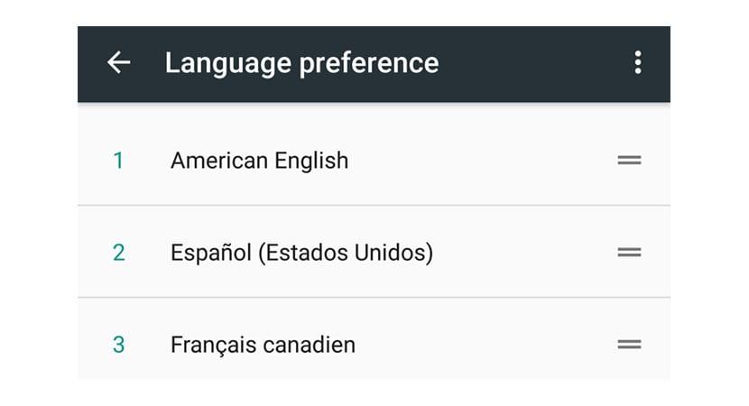 Idiomas Android N