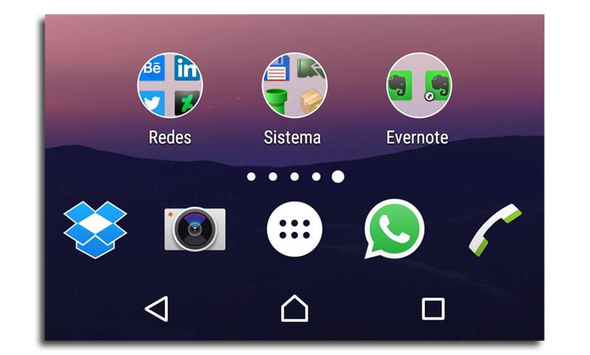 Android N estilo carpetas
