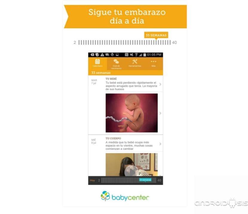Mi embarazo día a día, aplicación gratuita para Android para el control del ambarazo
